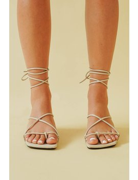On Your Radar Tie Up Mules // Nude by Vergegirl