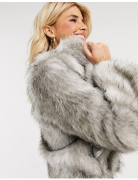 Lipsy Faux Fur Coat In Grey by Lipsy