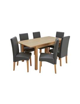 Argos Home Clifton Oak Extending Table & 6 Charcoal Chairs879/1122 by Argos