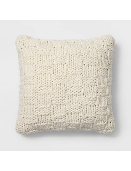 Chunky Knit Oversize Square Throw Pillow Cream   Threshold™ by Shop Collections
