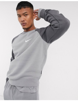 Nike Swoosh Crew Neck Sweat In Grey by Nike