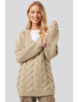 Wool Blend V Neck Heavy Knitted Cable Sweater Beige by Na Kd Trend