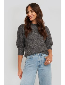Short Puff Sleeve Knitted Sweater Grå by Na Kd Trend