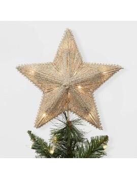 Lit Glitter String Incandescent Star Christmas Tree Topper Gold   Wondershop™ by Wondershop