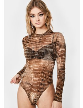 It's A Snap Crocodile Bodysuit by Dolls Kill