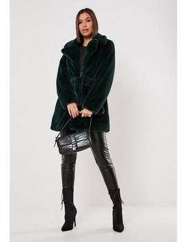 Tall Green Faux Fur Belted Coat by Missguided