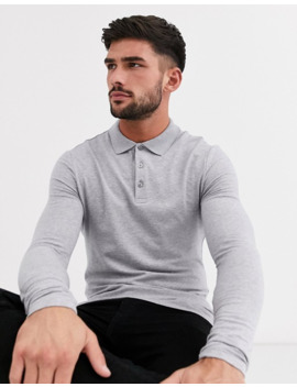 Asos Design Muscle Fit Long Sleeve Jersey Polo In Grey Marl by Asos Design