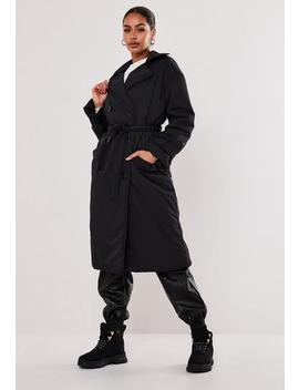 Black Padded Trench Coat by Missguided