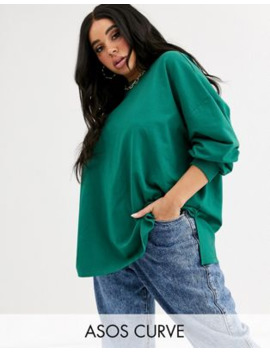Asos Design Curve Super Oversized Lightweight Sweat With Side Splits In Teal by Asos Design
