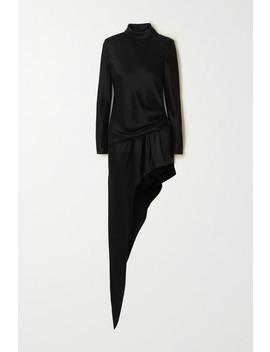 Asymmetric Gathered Satin Turtleneck Mini Dress by Alexander Wang