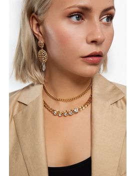 **Crystal Multirow Chain Choker by Topshop