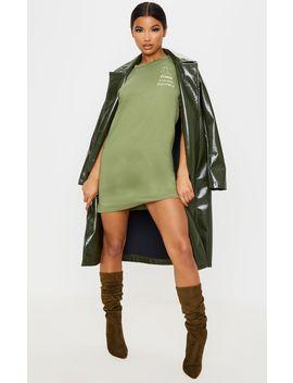 Khaki Gemini Definition Slogan T Shirt Dress  by Prettylittlething