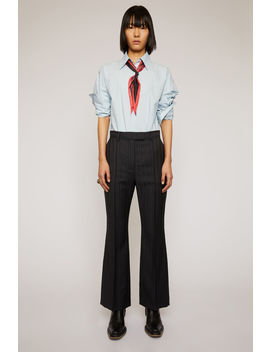 Flared Pinstripe Trousers Navy Blue by Acne Studios
