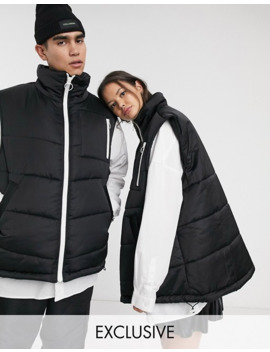 Collusion Unisex Puffer Gilet In Black by Collusion