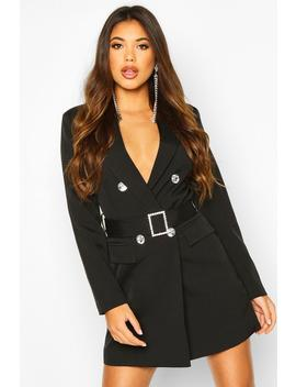 Jewelled Buckle Double Breasted Blazer Dress by Boohoo