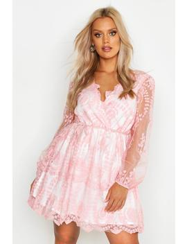 Plus Lace Plunge Skater Dress by Boohoo