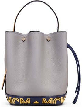 Mini Milano Logo Leather Bucket Bag by Mcm