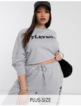 Missguided Plus   Playboy   Grå Sweatshirt   Del Af Sæt by Missguided's