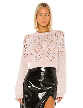 Fair Isle Pointelle Sweater In Pink by Milly