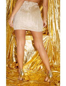 Champagne Crushed Velvet Ribbed Mini Skirt  by Prettylittlething