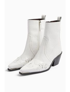 Malta White Leather Western Boots by Topshop