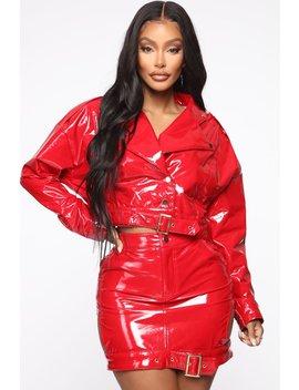 Lookin' Like Money Bag Pu Leather Jacket   Red by Fashion Nova