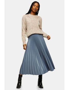 Slate Grey Pleated Pu Midi Skirt by Topshop