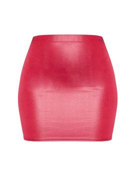 Burgundy Wet Look Mini Skirt  by Prettylittlething