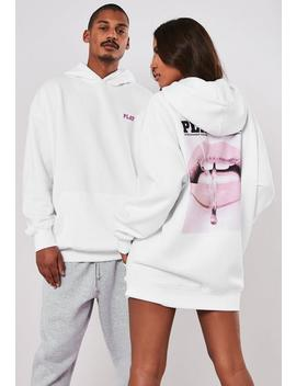 Playboy X Missguided White Magazine Print Oversized Hoodie by Missguided