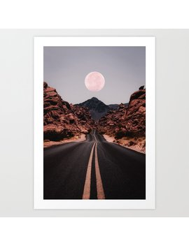 Road Red Moon Art Print by Society6