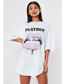 Playboy X Missguided White Lips T Shirt Dress by Missguided