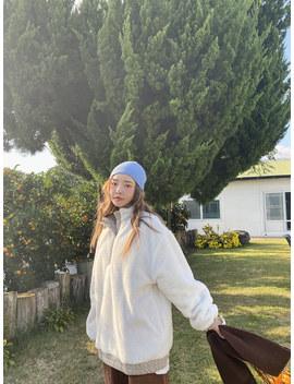 Funnel Neck Sherpa Fleece Sweatshirt by Stylenanda