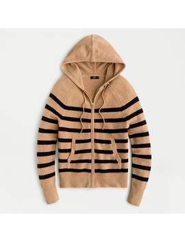Zip Up Stripe Hoodie Sweater In Supersoft Yarn by J.Crew