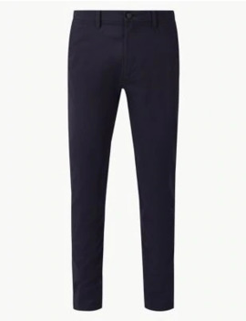 Shorter Length Cotton Rich Chinos With Stretch by Marks & Spencer