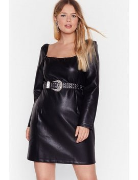 Square You Been Hidin' Plus Faux Leather Dress by Nasty Gal
