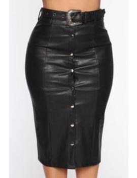 Not Trynna Buckle Down Skirt   Black by Fashion Nova
