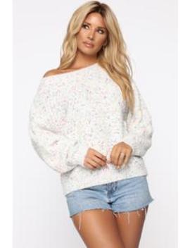 Day Of Bliss Sweater   White Multi by Fashion Nova