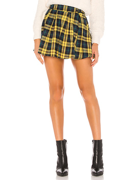 Evy Pleated Buckle Skirt In Yellow Plaid by Superdown