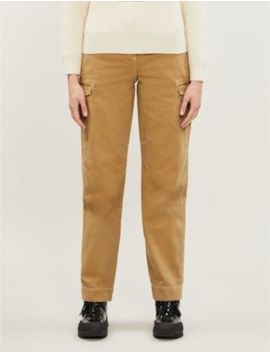 Pocket Detail High Rise Cotton Twill Straight Leg Trousers by Topshop