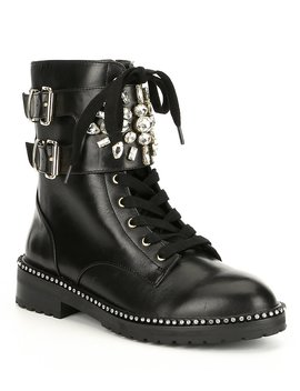 Stoop Brooch &Amp; Buckle Embellished Leather Combat Boots by Kurt Geiger