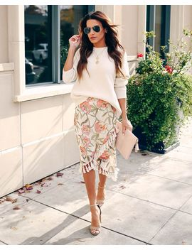 Chandra Floral Velvet Tassel Skirt by Vici