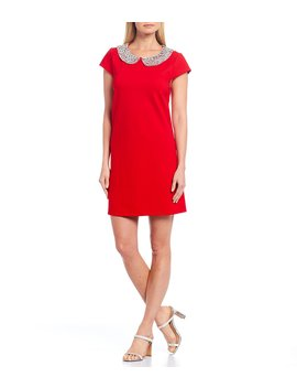Meredith Cotton Blend Rhinestone Peter Pan Collar Dress by Julie Brown