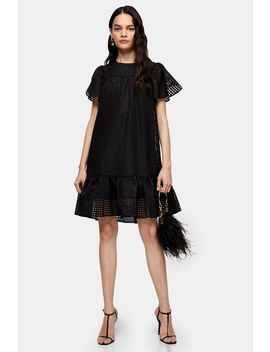 Black Check Organza Mini Dress by Topshop