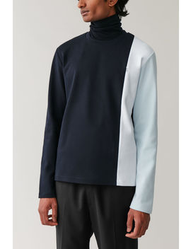 Colour Block Cotton Sweatshirt by Cos