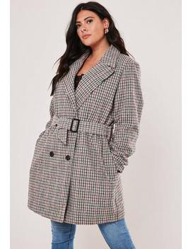 Plus Size Brown Belted Check Wool Mix Trench Coat by Missguided