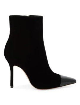 Lucy Cap Toe Velvet Ankle Boots by Gianvito Rossi