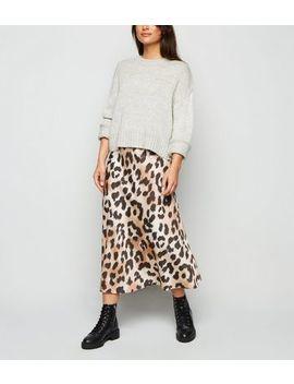 Petite Brown Leopard Print Satin Midi Skirt by New Look