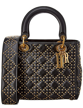 Dior Medium Lady Dior Quilted & Studded Leather Shoulder Bag by Dior