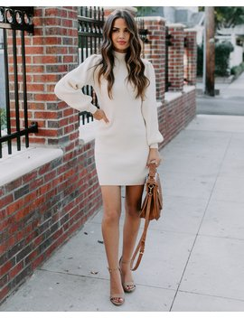 December To Remember Mock Neck Sweater Dress   Ivory by Vici