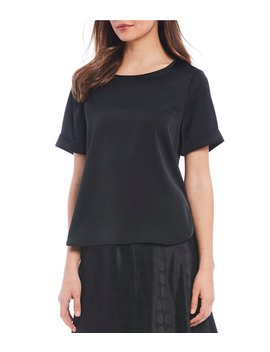 Stevie Satin Short Sleeve Blouse by Cremieux
